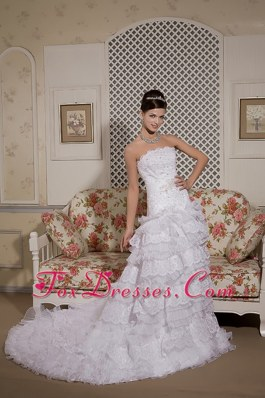 Lace Ruffles Court Train Wedding Dress Organza Sash Perfect