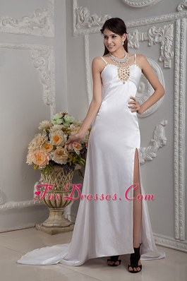 Column Straps Brush Train Beading and Ruch Wedding Dress