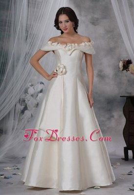 Beaded Off The Shoulder Hand Made Flower A-line Wedding Dress