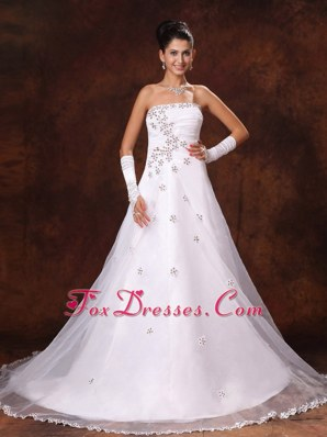 Church Wedding Dress Appliques 2013 Organza Court Train