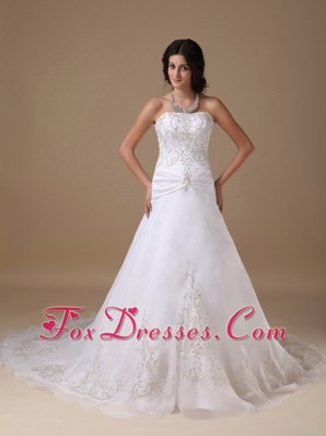 2013 Plus Size Ruch Wedding Dress Chapel Train Appliques