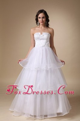 A-line Strapless Floor-length Layers Wedding Dress