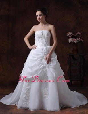Beading Organza Court Train Wedding Dress Ruched 2013