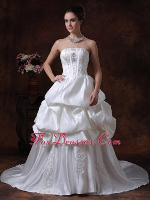 Beading Pick Ups Taffeta Wedding Dress 2013 Court Train