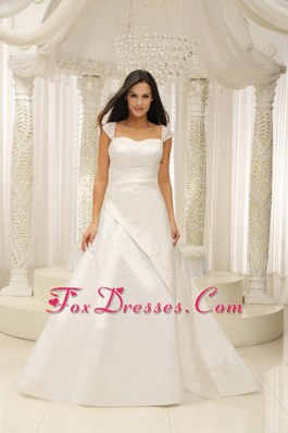 Square Embroidery Beaded Satin 2013 Wedding Dress Ruched