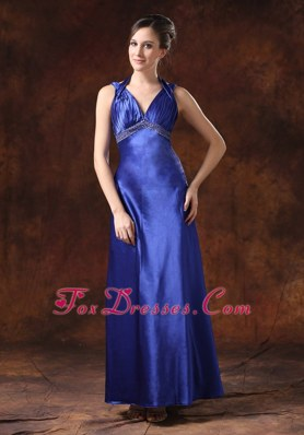Beaded Waist Halter Prom Evening Dress Backless Blue