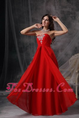 Coral Red Sweetheart Floor-length Beading Evening Dress
