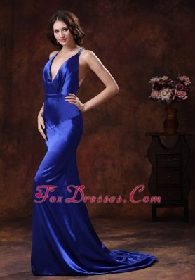 Brush Train Royal Blue Halter Mermaid Prom Dress