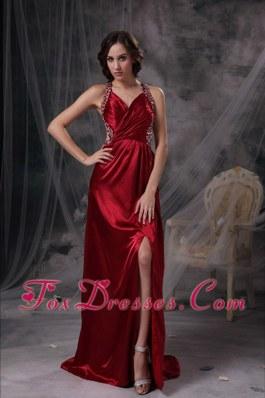 Wine Red V-neck Floor-length Beading Evening Dress