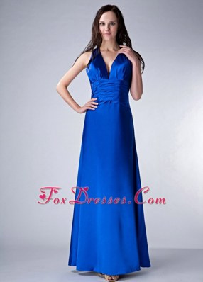 Royal Blue V-neck Ankle-length Ruche Evening Pageant Dress
