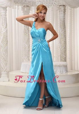 One Shoulder High Slit Aqua Blue Ruche Prom Evening Dress
