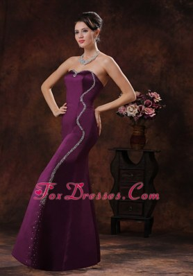 Customize Mermaid Dark Purple Evening Pageant Dress With Beading