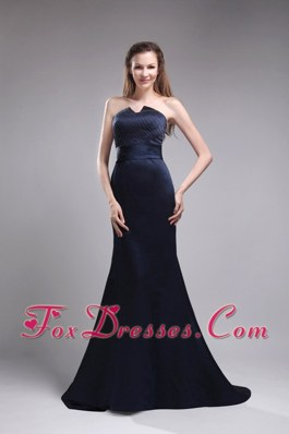 Strapless Brush Train Beading Royal Blue Evening Pageant Dress