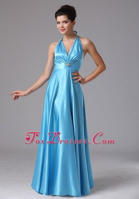 Custom Made Baby Blue Halter 2013 Prom Evening Dress