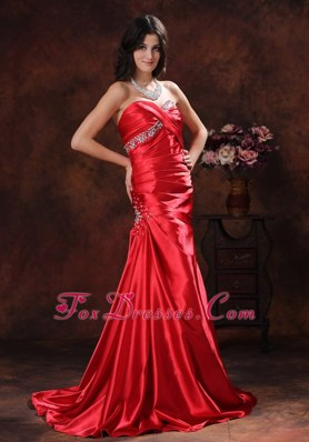 A-line Red Sweetheart Evening Pageant Dress Brush Train