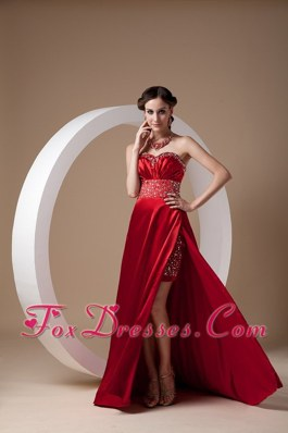 Wine Red Sweetheart Brush Train Beading Evening Dress
