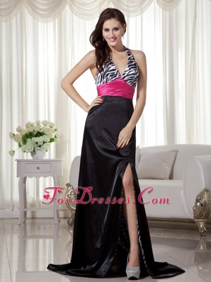 Black and Hot Pink Halter Brush Train Zebra Evening Dress