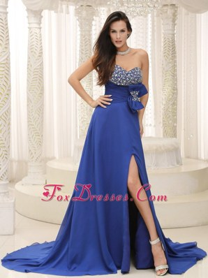 High Slit Beading Bowknot Peacock Prom Evening Dress Customize