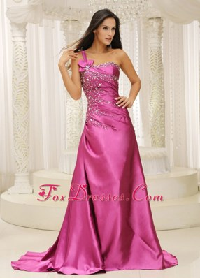 One Shoulder Beaded Evening Celebrity Dress With Brush Train