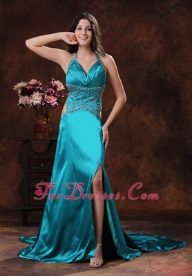 Turquoise Column High Slit Halter Brush Train Evening Dress Beading