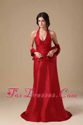 Wine Red Halter Column Prom Dress Brhsh Train