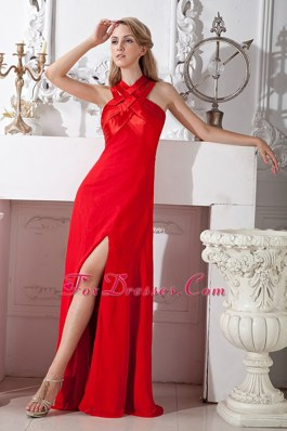 Elegant Column Prom Evening Dress High Slit Red