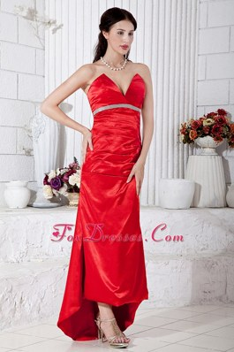 Red Column High-low Beading Evening Celebrity Dress