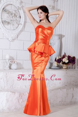 Orange Mermaid Ruche Evening Pageant Dress Sweetheart
