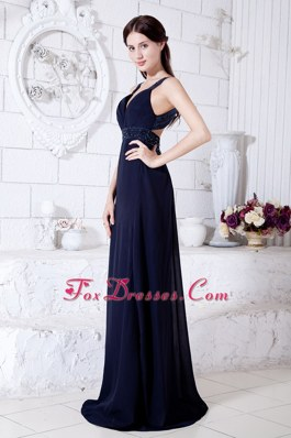Navy Blue Beading Evening Pageant Dress Empire Straps