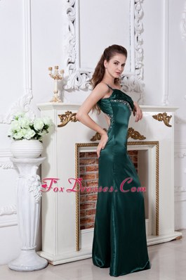 One Shoulder Ruche Green Prom Evening Dress Beading