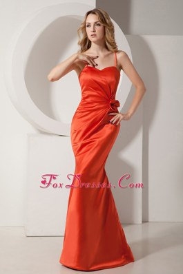 Mermaid Straps Rust Red Prom Evening Dress Ruche Flower
