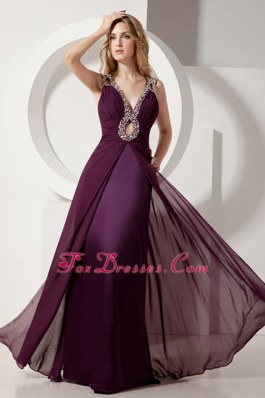 Dark Purple Column V-neck Prom Evening Dress Beading