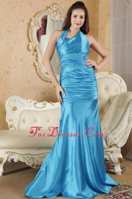 Halter Sequins Blue Evening Celebrity Dress Column