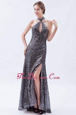 Sliver Column Brush Sequin Evening Dress High-neck
