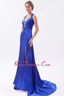 Royal Blue Straps Embroidery Evening Dress Brush