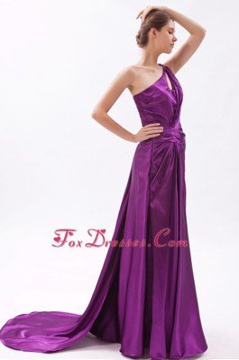 Asymmetrical Brush Ruche Beading Evening Pageant Dress