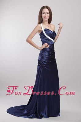 One-shoulder Navy Blue Evening Celebrity Dress Ruch