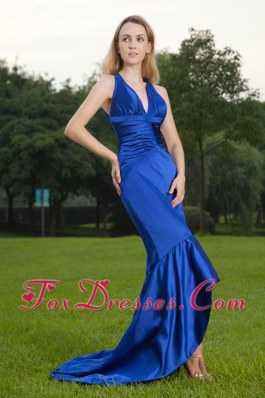 Mermaid V-neck Brush Blue Chiffon Ruche Evening Celebrity Dress