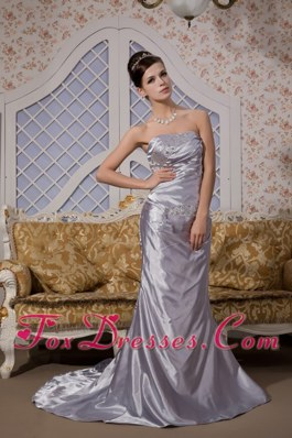 Brush Appliques Grey Column Strapless Evening Pageant Dress