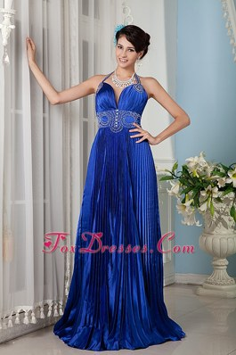 Royal Blue Halter Train Evening Pageant Dress Beading