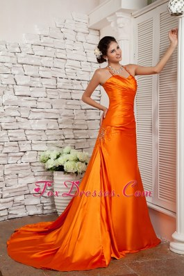 Orange Red Straps Brush Evening Celebrity Dress Beading