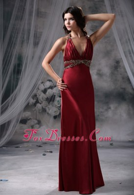 Beading Halter Long Column Wine Red Prom Evening Dress