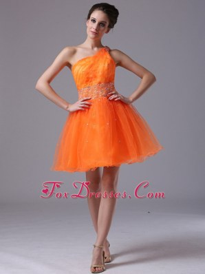Sweet Orange Beading One Shoulder Cocktail Dresses