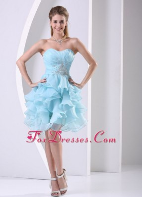 Popular Aque Blue Ruffles Sweetheart Beading Cocktail Dresses