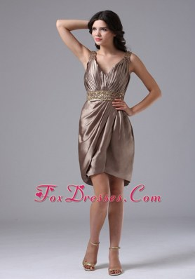 Discount Brown V-neck Beading Column Prom Dress
