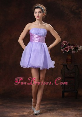 Lilac A-line Strapless Beading 2013 Party Dress