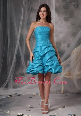 Romantic Beading Aqua Blue Strapless Short Party Dresses