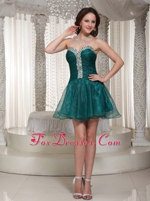 Peacock Green Rhinestones 2013 Prom Dress Custom Made
