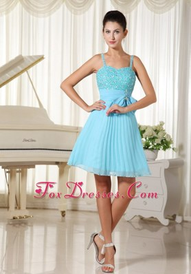 Cute Aqua Blue Spaghetti Straps Beading Prom Homecoming Dresses