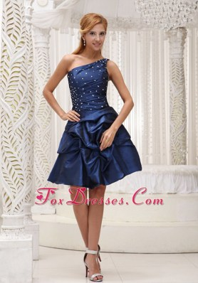 Gorgeous Navy Blue One Shoulder Homecoming Dresses for Prom